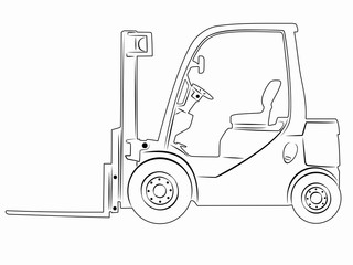 illustration of a forklift. vector drawing