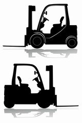 silhouette of a forklift. vector drawing