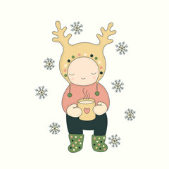 Vector illustration. Cute character in a hat with deer horns with a mug of tea, and snowflakes. Winter hand drawn art.