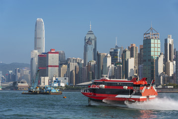high speed passenger ship in Victoria harbor of Hong Kong city