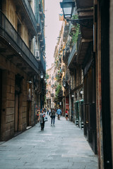 BARCELONA, SPAIN - JUNE 30. The main street Via Laietana is the name of a major thoroughfare in Barcelona on June 30, 2015. Lots of shops and main attractions are around the street