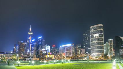 Skyline of Hong Kong City at night