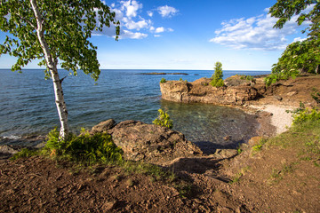 Rocky Coast On Lake Superior. Rocky coast in Presque Isle Park on the shores of Lake Superior in Marquette, Michigan.