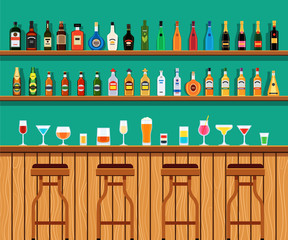 Alcohol cocktail drinks on a bar counter and chairs. The interior of the pub, bar or restaurant with bottles on the shelves. Vector illustration in vector style