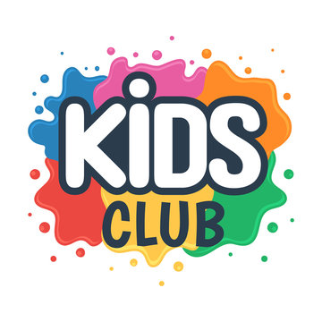 Kids club inscription on the background of colored blots of paints. Children Center for Creative Development sign. Vector illustration isolated on white background