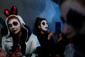 Revellers wear scary make up during the ÒBocuk nightÓ, or the Thracian Halloween, in Camlica village, near the western town of Kesan