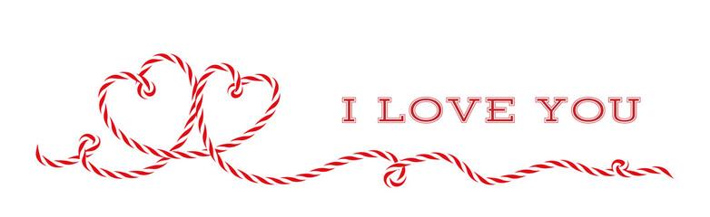 Liebes Herzen Aus Rot Weiße Kordel Schnur, Schleifen Banner Zum Valentinstag,  Muttertag,