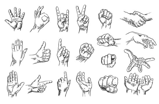Signs, gestures with hands