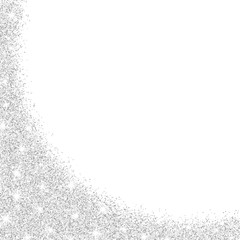 Silver glitter isolated on white background. Glitters twinkle. Festive template for your design. Silver dust side view. Luxury silver background. Vector.