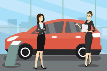 cartoon caucasian woman seller at the car showroom shows the vehicle and female buyer