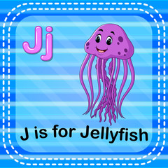 Flashcard letter J is for jellyfish