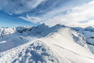 Morning foto of snowstorms in high Tatras