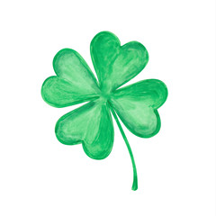 Vector four-leaf clover. Hand drawn watercolor illustration on white.