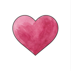 Watercolor painted red heart on white background. Vector illustration