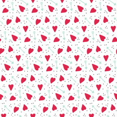 Romantic seamless vector pattern with hearts and arrows. Texture for fabric, scrapbooking paper, wrapping paper and other.