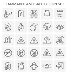 Flammable and safety icon set.