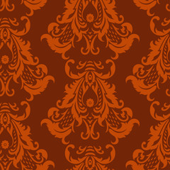 Vector seamless damask pattern. Floral vintage background