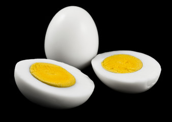 Eggs isolated on black background