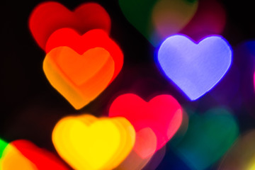 Multicolor Hearts Background with Bright Bokeh Lights for Valentine's Day