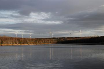 Windräder an einem See