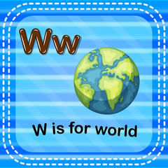 Flashcard letter W is for world