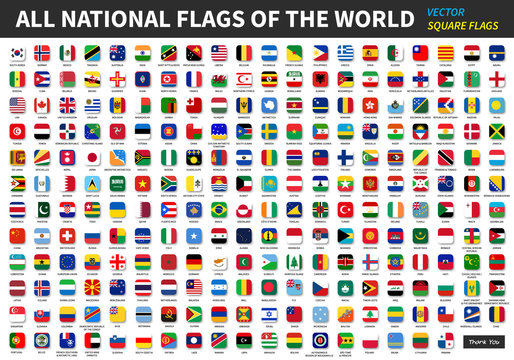All official national flags of the world . Square design . Vector