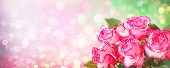 Romantic background with bouquet of pink roses for Valentines day
