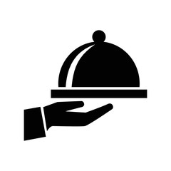 covered food tray on hand of hotel room service symbol icon