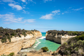 The Loch Ard Gorge is part of Port Campbell National Park, Victoria, Australia, about three minutes' drive west of The Twelve Apostles along the Great Ocean Road.