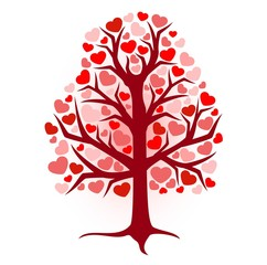 illustration brown tree with hearts