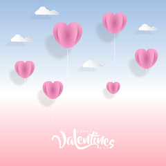 Valentines day background with heart balloons in paper art style