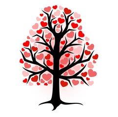 illustration ebony with hearts on a white background