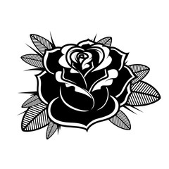 Rose illustration in tattoo style. Design element for oster, emblem, sign,t shirt.