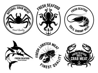 Set of seafood market emblems. Design element for logo, label, emblem, sign.