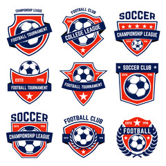 Set of soccer, football emblems. Design element for logo, label, emblem, sign.