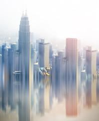 skyscrapers skyline artistic illustration