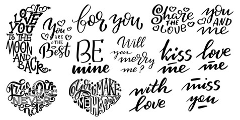 Set of Big hearts with lettering about Love, typography poster for Valentines Day, cards, prints.