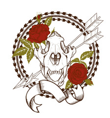 composition of tiger skull, red roses, arrows and indian geometric ornament, vector illustration