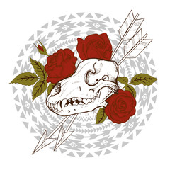 composition of animal skull, red roses, arrows and indian geometric ornament, vector illustration