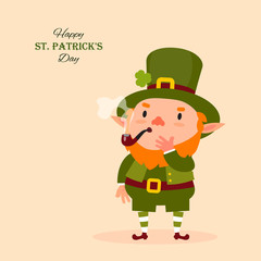 St.Patrick 's Day. Leprechaun smokes a pipe. Festive collection. Isolated. Vector