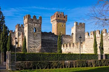 Fotobehang Kasteel Part of the Scaligero castle in Lazise, Italy
