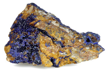 azurite found in Morocco  isolated on white background