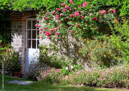 Petits jardin fleuri et rosier sur fa ade de maison for Organiser un jardin fleuri