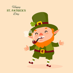 Leprechaun smokes a pipe, laughs and dances. St.Patrick 's Day. Festive collection. Vector illustration