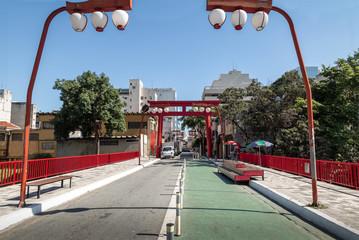 Torii Gate at Liberdade Avenue in Liberdade japanese neighborhood - Sao Paulo, Brazil
