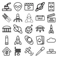 Space icons. set of 25 editable outline space icons