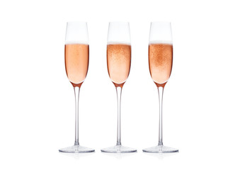 Elegant Rose pink champagne glasses with bubbles