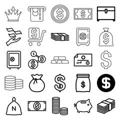 Wealth icons. set of 25 editable outline wealth icons