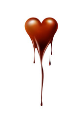 Heart melted chocolate on white background, chocolate lover or Valentine's day concept, vector background