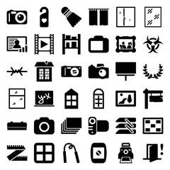 Frame icons. set of 36 editable filled frame icons